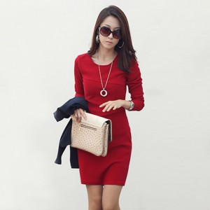 845-2013-long-sleeve-dress-women-s-slim-hip-patchwork-long-sleeve-slim-elegant-one-piece