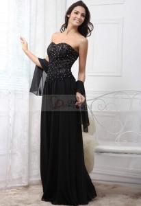 robe bustier noir avec perle